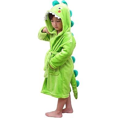 Kids Plush Hooded Bathrobe - Dinosaur Flannel Fleece Robe for Boys (Green, 6-