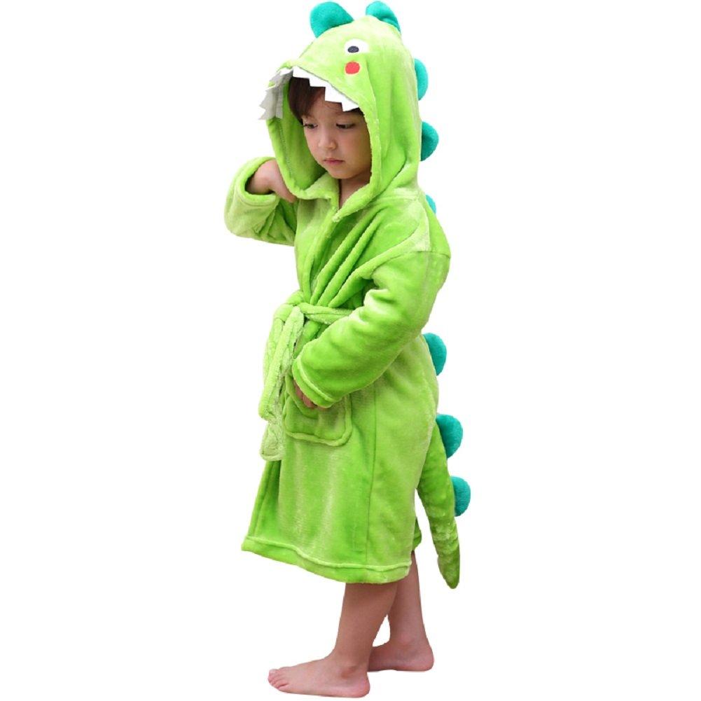 DREAMOWL Kids Plush Hooded Bathrobe - Dinosaur Flannel Fleece Robe For Boys (Green, 6-8)