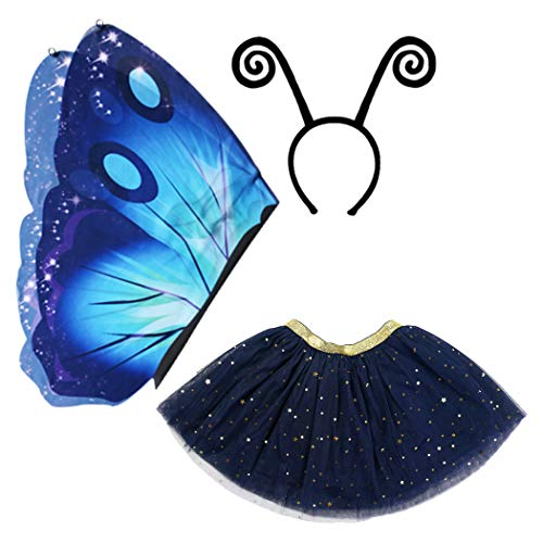 iROLEWIN Fairy Butterfly Wings Costume for Girls Kids with Mask Halloween Dress up Pretend Play Birthday Party Favors (#08 Butterfly Wings Costume Blue) -