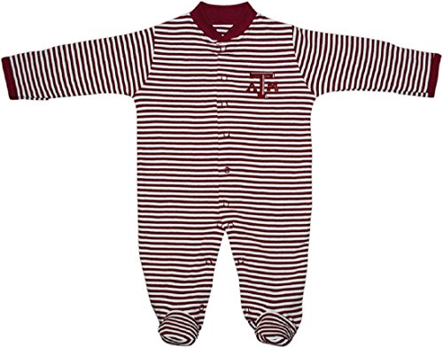 (Creative Knitwear Texas A&M University Aggies Striped Footed Baby Romper Maroon)