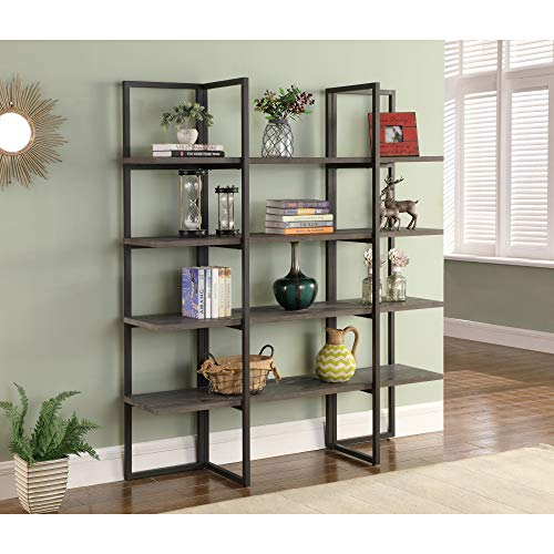 Zeke 60'' Bookcase in Rocky Mountain Gray with Four Wood Shelves And Metal Frame, by Artum Hill by Artum Hill (Image #2)