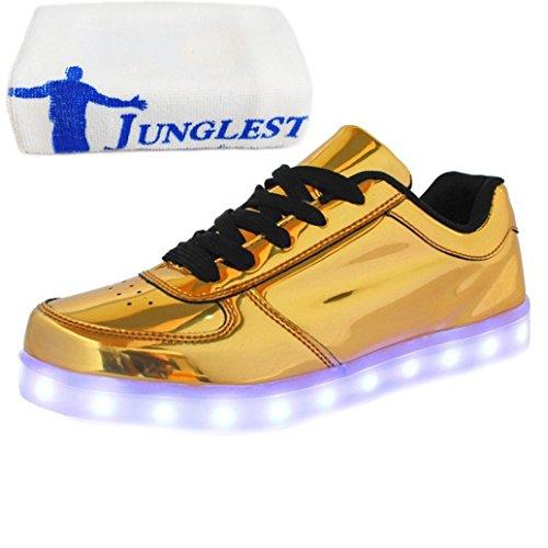 [Present:kleines Handtuch]Golden EU 32, 7 Farbe Leuchtend Unisex weise USB laufende LED Junge Sport Schuhe Leucht Herbst Freizeitschuhe Aufladen schuhe Mädchen Paare un
