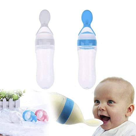 Buy KIDZVILLA 90ML Newborn Baby Feeding Bottle Toddler Safe Silicone  Squeeze Feeding Spoon Milk Cereal Bottle Baby Training Feeder (Random  Color/90 ml) (Blue-White) (Pack of 2) Online at Low Prices in India -