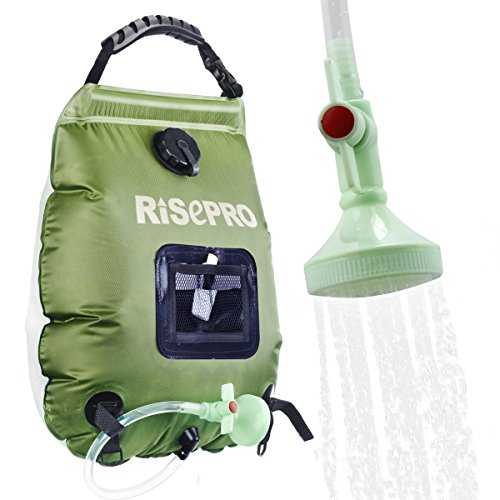 RISEPRO Solar Shower Bag, 5 gallons/20L Solar Heating Premium Camping Shower Bag Hot Water with Temperature 45°C Removable Hose on/Off Switchable Shower Head Hiking Climbing Summer Shower K8