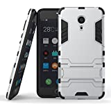 Chevron Rugged Terrain Armor Protective Shockproof Kick Stand Back Cover Case for Meizu m3 note (Silver)