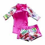ZYZF Kids Girls Floral Tankini Bikini Swimwear Swimsuit Rash Guard UPF 50+ UV