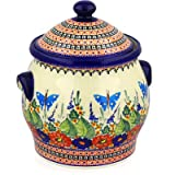 Polish Pottery Jar with Lid and Handles 11-inch Spring Splendor UNIKAT