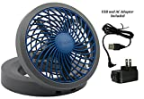 "PC Hardware : O2COOL 5"" Portable USB or Electric Fan, Blue/Gray Parent (Blue/Gray)"