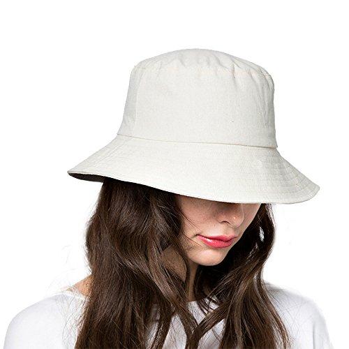 Bucket Sun Hat,Women Cotton Bucket Cap Summer Foldable Beach Hat with Wide Brim (B2-Ivory)
