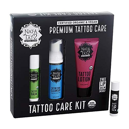 Nat-A-Tat2 Tattoo Care Set with Essential Oils, Organic Vegan Skin Care