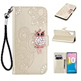 Amocase Wallet Case with 2 in 1 Stylus for Samsung Galaxy Note 10 Plus 5G/Note 10 +,3D Bling Gems Owl Magnetic Mandala Embossing Premium Strap PU Leather Card Slot Stand Case for Samsung Galaxy Note 10 Plus 5G/Note 10 + - Gold