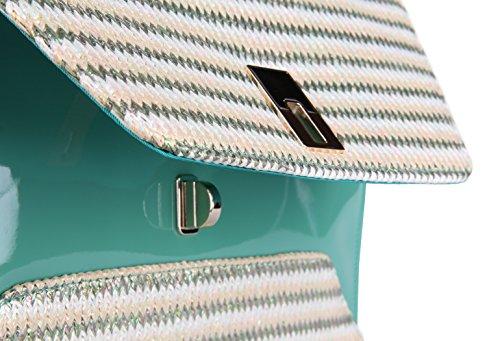 Women's Envelope Knit Bag Evening Handbag Green Clutch Party Grace GA14606 Angel Chain U5TIt