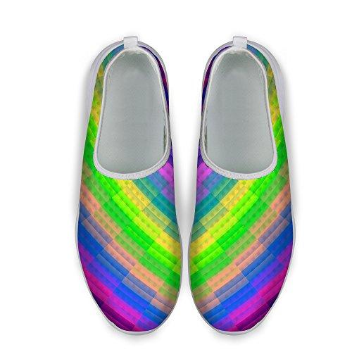 Pour U Designs Élégant À Carreaux Glitter Impression Confortable Slip Sur Maille Marche Chaussures De Course Pour Femmes Multi A6