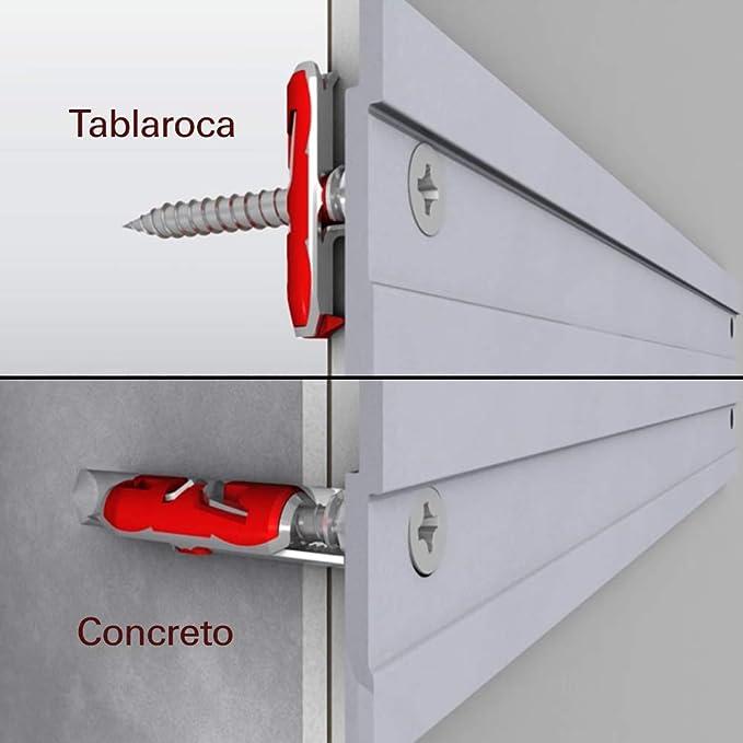 Fischer Taco DuoTec 12 T (Caja Tacos + 10 Tornillos), 542797, Grau/Rot: Amazon.es: Bricolaje y herramientas