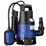 13000 L/h 1HP 750W 26' Flip Submersible Dirty Clearn Water Pool Pump Built-in Automotive Thermal Overload Protector w/ Float Switch