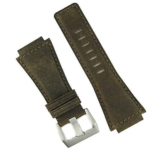 B & R Bands Distressed Brown Bomber Bell and Ross BR01 BR03 Replacement Leather Watch Band Strap ()