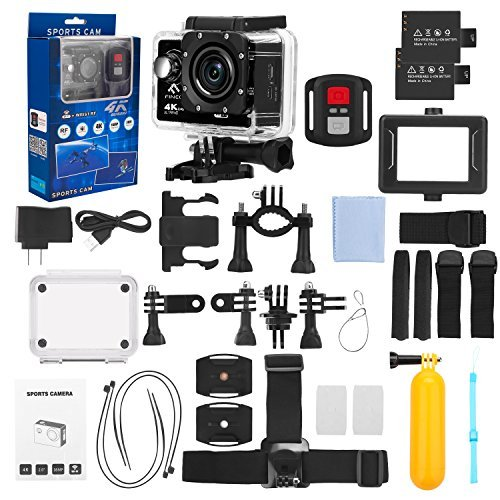 FINEC F60R Waterproof Sports Action Camera 4K 16 MP Ultra HD WIFI 170 Degree Angle Underwater Camcorder With 2.0Inch LCD Screen And Full Accessories Kits (Black) by FINEC