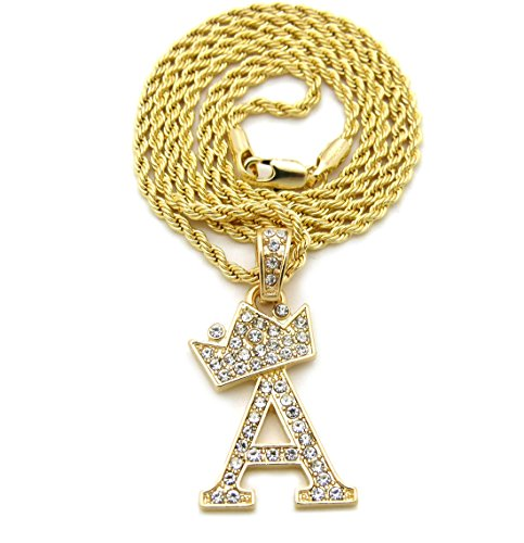 """Unisex Small Pave Crowned Initial Alphabet Letter Pendant 2mm 24"""" Rope Chain Necklace in Gold, Silver Tone"""