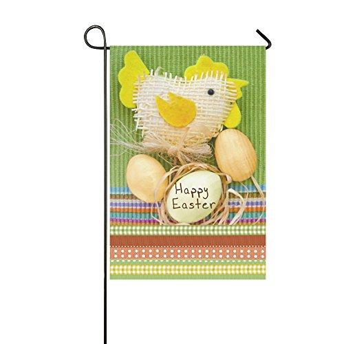 InterestPrint Easter Egg and Toy Chicken Polyester Garden Fl