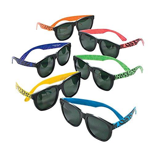 Fun Express - Animal Print Neon Sunglasses - Apparel Accessories - Eyewear - Sunglasses - 12 Pieces