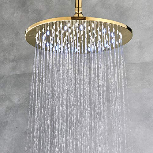 Senlesen Rainfall 12-inch Round Shower Head High Pressure Top Spray Without Shower Arm Ceiling Mount Gold Polished
