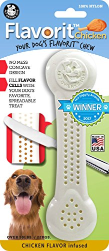 Cheese Flavor Dog Bone - Pet Qwerks Flavorit -Chicken Flavored Nylon Bone for Aggressive Chewers (Made in the USA)