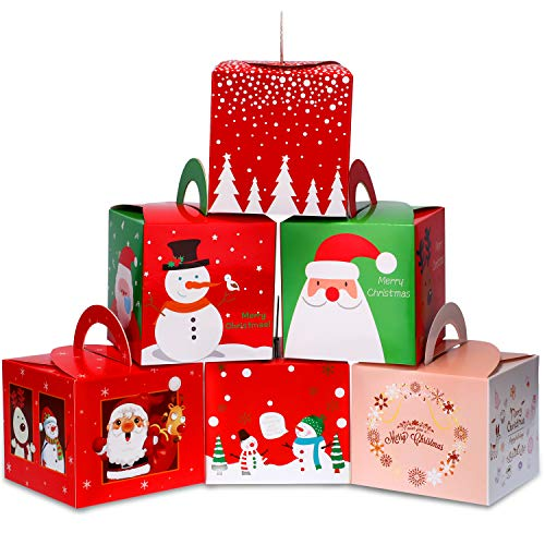 Boao 30 Pieces Christmas Candy Boxes Paper Gift Boxes with Christmas Elements Patterns for Xmas Party Supplies, 6 Styles (Food Christmas Chinese For)