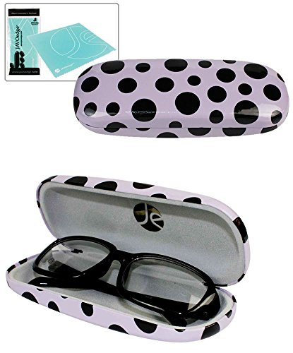JAVOedge Black Polka Dot Purple Eyeglass / Reading Glass Hard Case and Bonus Mircofiber Cleaning Cloth