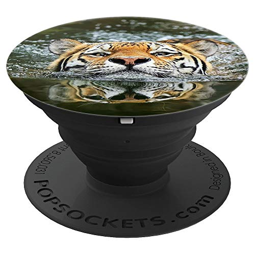 Swimming Tiger Wild Cat Wild World Wild Animal Don't Give Up - PopSockets Grip and Stand for Phones and Tablets