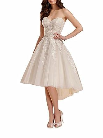 Cloverbridal Damen Spitzen Hi Lo Hochzeitskleid Standesamt