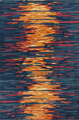 Chandra Rugs Stella Area Rug, 60-Inch by 90-Inch, Blue/Gray/Red/Orange