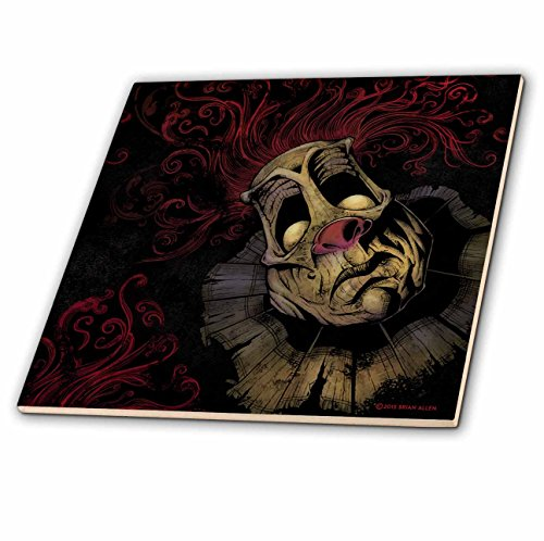 3dRose Dark, Evil, Clown, Illustration - Creepy Clown with Red Hair - 4 Inch Ceramic Tile (Creepy Clowns Pictures)