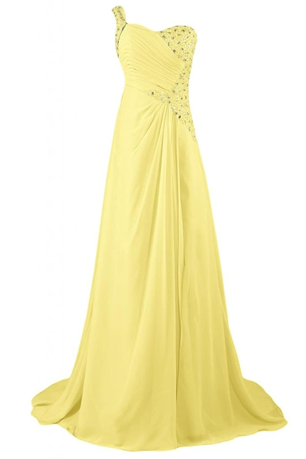 Sunvary Graceful One-shoulder Neckline Long Evening Dresses Maxi Party Bridesmaid Gowns Evening Dress