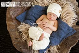 Snow Bunny Ivory Newborn Pants Photography Prop with Matching Hat, Baby Boy Props, Baby Girl Props, Newborn Pants, Photo Props