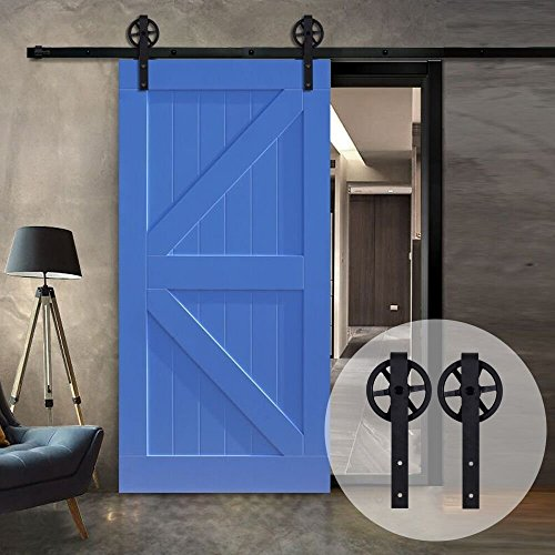 Interior Sliding Barn Wooden Door Hardware Track Kit Big Spoke Wheel Roller(12FT Single Door Kit) by Billion Hardware