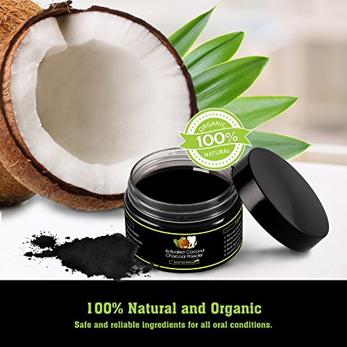 Large Product Image of [2018 UPGRADED] Natural Coconut Activated Charcoal Teeth Whitening Powder - Teeth Whitener - Made With Natural Coconut Charcoal - 100% Vegan And Organic - Works Well With Charcoal Toothpaste - 60g