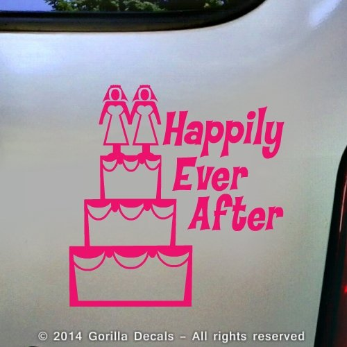 LESBIAN MARRIAGE Happily Ever After Equality LGBT Gay Vinyl Decal Bumper Sticker Car Laptop Wall Sign PINK