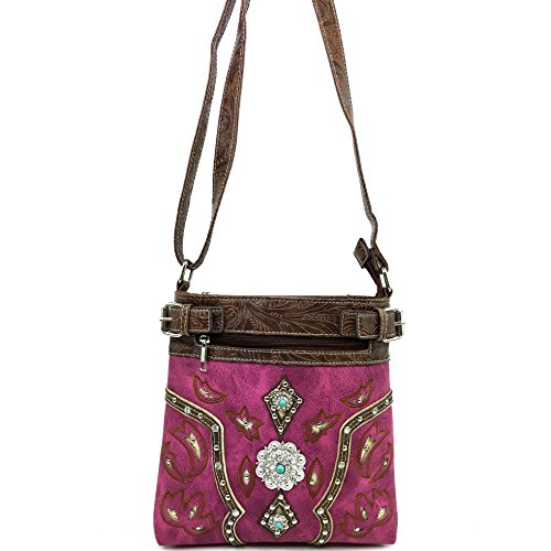 Carry Turquoise Purple West Western Purse Messenger Cross Studded Embellishment Handbag Concho Concealed Justin Body 1CEwqnRw