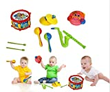 Toy Cubby Rock Band Kids Music Instrument Set - Flute, Drum , Saxophone, Cymbals and Tambourine