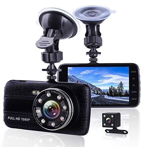 Hodleys Car Camera Dash Cam Front and Rear Dual Camera, Superior Night Vision 1080P HD Dashcam,4 Inch Large IPS Screen Car Dashboard Camera, Car Video Recorder With G-sensor, Loop Recording, Motion De
