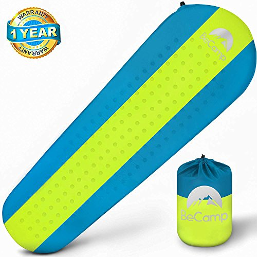BeCamp Self Inflating Sleeping Pad – Sleeping Pad - Lightweight Sleeping Pad - Mat for Camping Hiking Backpacking - Premium Insulated Sleeping Mattress for Outdoors - Comfortable Pad (Blue/Yellow) by BeCamp