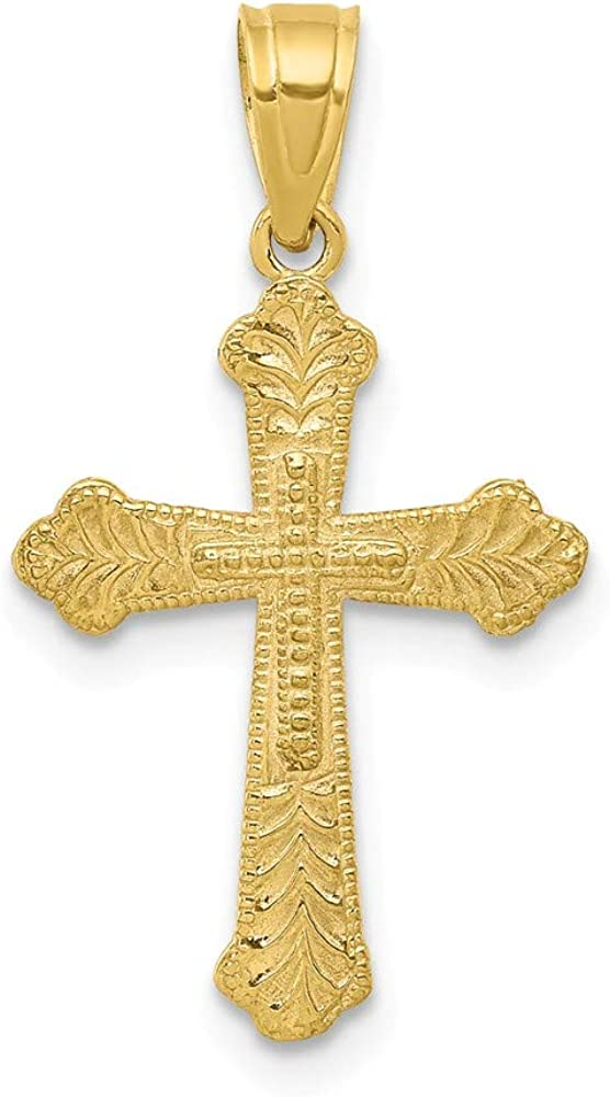 10k Yellow Gold Polished Religious Cross Charm Pendant 30mmx16mm