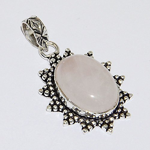 42.5ctw Rose Quartz 14x20mm 925 Sterling Silver Plated Birthstone Pendant Silverart Jewelry P : - Ctw Thailand