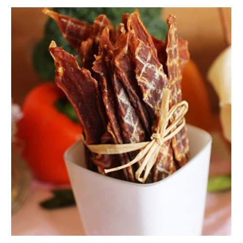 DOG SNACK: All Natural Healthy Dog Puppy Snack Treat Oven Roasted DUCK JERKY with protein and nutrients delicate