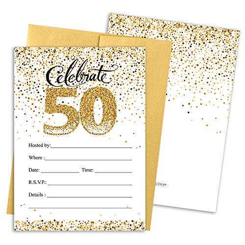 50th Birthday Party Invitation Cards with Envelopes, 25 Count (White and Gold)