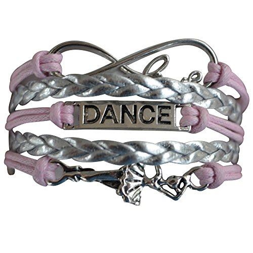 Infinity Collection Dance Bracelet- Girls Dance Jewelry - Pink Infinity Love Ballerina Charm Bracelet, Perfect Gift For Dance (Dancer Wrap)