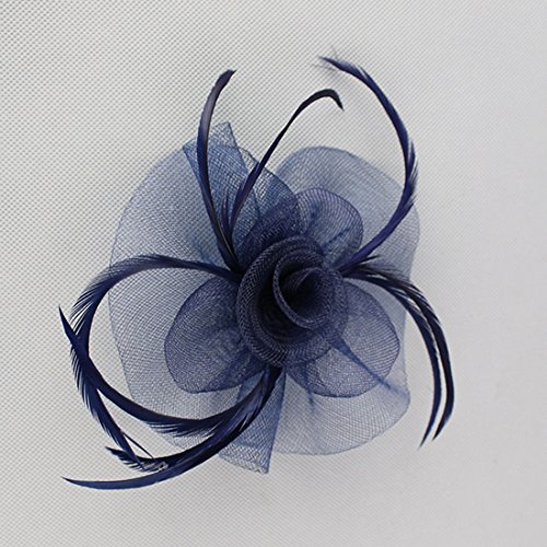 Free Yoka Womens Fascinators Feather Pillbox Hat Cute Beads for Cocktail Kentucky Derby Ball Wedding Church Party (Navy) by Free Yoka (Image #3)