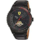 Scuderia Ferrari Men's Stainless Steel Mechanical-Hand-Wind Watch with Leather Calfskin Strap, Black, 16 (Model: 830366)
