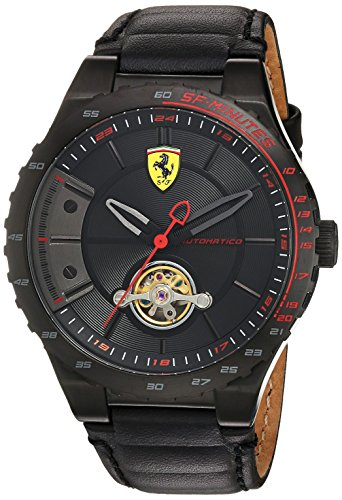 Cheap Scuderia Ferrari Men's Stainless Steel Mechanical-Hand-Wind Watch with Leather Calfskin Strap, Black, 16 (Model: 830366) ferrari automatic watches