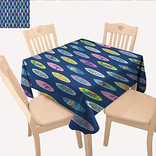 longbuyer Surfboard Christmas Tablecloth Boards with Aloha Hawaii Vibrant Artistic Flowers Graphic Design Hippie Hibiscus Waterproof Table Cloth Multicolor W 54